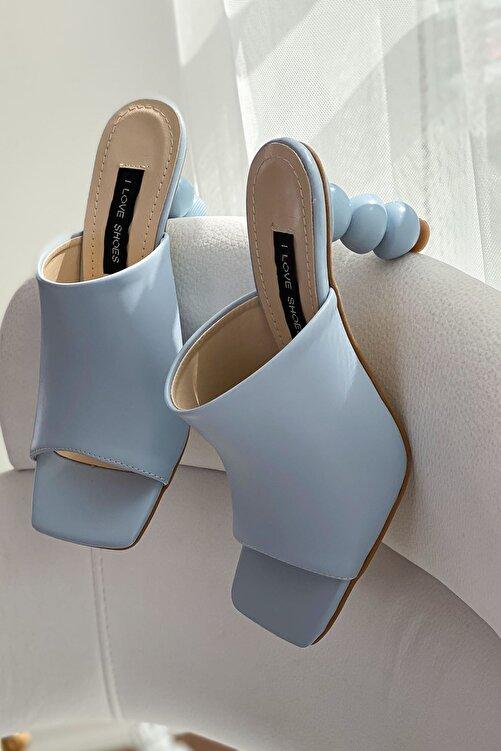 I Love Shoes Kadın Mavi Cloren Mat Deri Topuk Detaylı Yüksek Topuklu Terlik 1