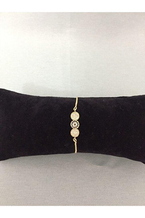 Accessories Gold Renkli Nazar Boncuklu Zirkon Taşlı Asansörlü Bileklik 2