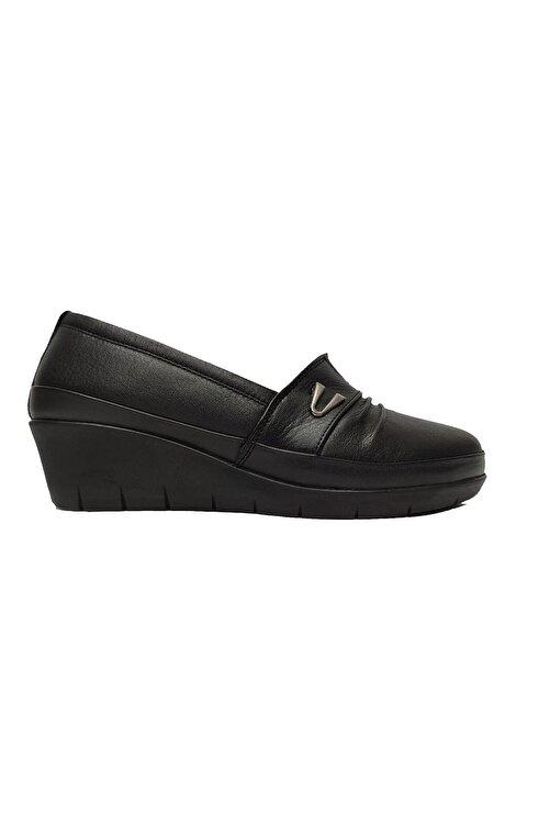 Scavia Kadın Siyah Hakiki Deri Ortopedik Ayakkabı 244-20 2