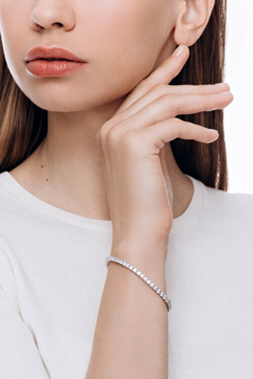 Valori Jewels Diamond Montür, 5.39 Karat Swarovski Zirkon Taşli, Gümüş Su Yolu Bileklik 2