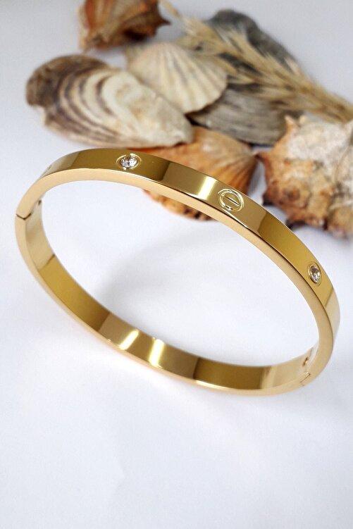Bin1Gecem Takı Kadın Zirkon Taşlı Paslanmaz Çelik Cartier Bileklik Bilezik 18 Cm 2