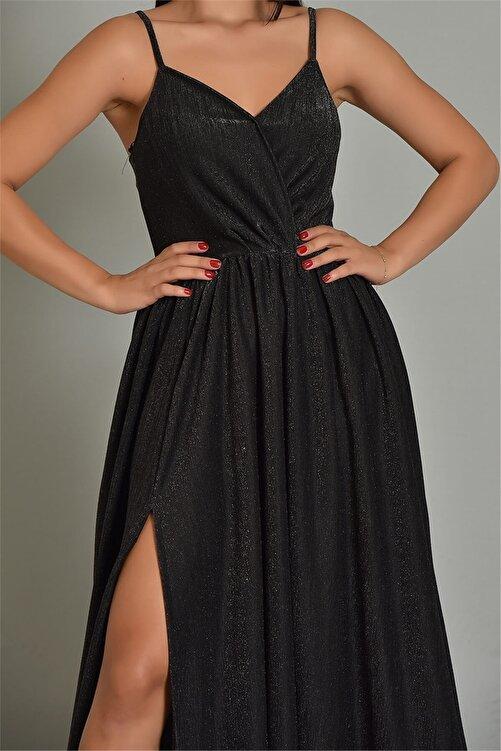 Modakapimda Siyah Ip Askılı Simli Kumaş Yırtmaçlı Abiye Elbise 2
