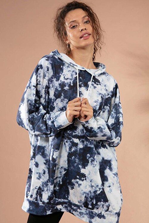 Pattaya Kadın Batik Desenli Kapşonlu Örme Sweatshirt Y20w110-4125-30 2