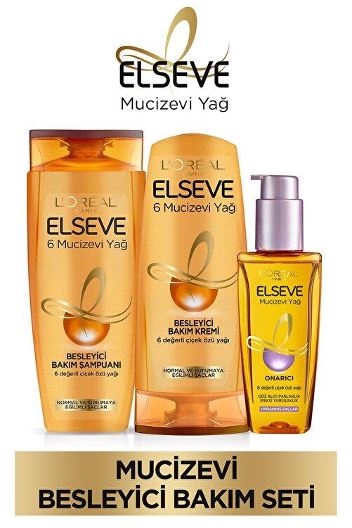 ELSEVE 6 Mucizevi Yağ Bakım Şampuan 450ml & Saç Kremi 360 Ml & Yıpranmış Saçlar Için Saç Bakım Yağı 1