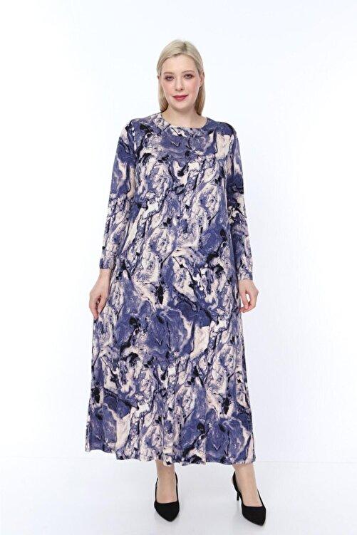 ŞENZADE Kadın Mor Viskon Kumaş Baskı Desen Büyük Beden Elbise 1