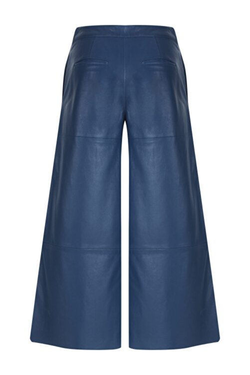 Meltem Özbek Kadın Düz Paça Deri Pantolon 2