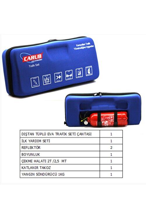 Carub Trafik Seti Ultra Lüx Mavi Çantalı Tüplü Trafik Seti Ilkyardım Lüx Çantalı - 1 Kg Yangın-tüp 1