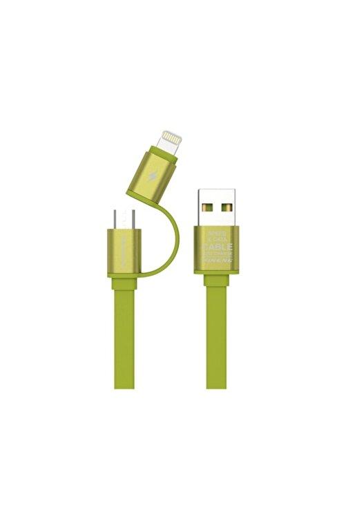 Pineng Pn-304 Lightning Ve Micro Usb Yeşil Kablo 1