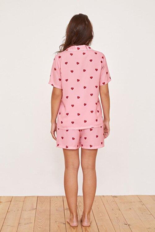 Katia&Bony Kalp Desenli Saten Şortlu Kadın Pijama Takımı - Pembe 2