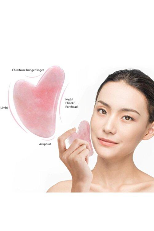3 Pembe Kuvars Gua Sha Yüz Vücut Masaj Taşı Doğal Taş Yüz Bakımı 1