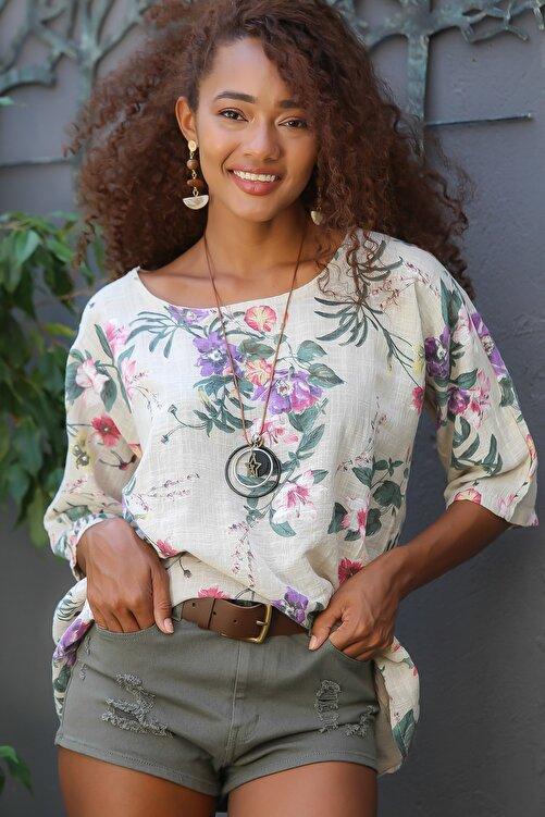 Chiccy Kadın Bej Italyan Bahar Dalı Desenli Sıfır Yaka 3/4 Kol Dokuma Oversize Bluz M10010200bl95037 1