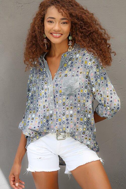 Chiccy Kadın Gri Italyan Puan Desenli Patı Ve Cebi Pul Dokuma Uzun Kol Ayar Düğmeli Bluz M10010200bl95053 2