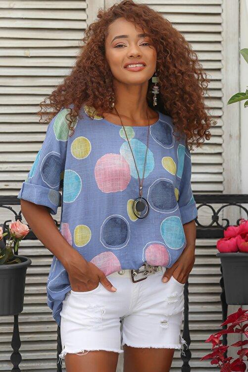Chiccy Kadın Mavi Italyan Dev Puan Desenli Sıfır Yaka 3/4 Kol Oversize Dokuma Bluz M10010200bl95031 2