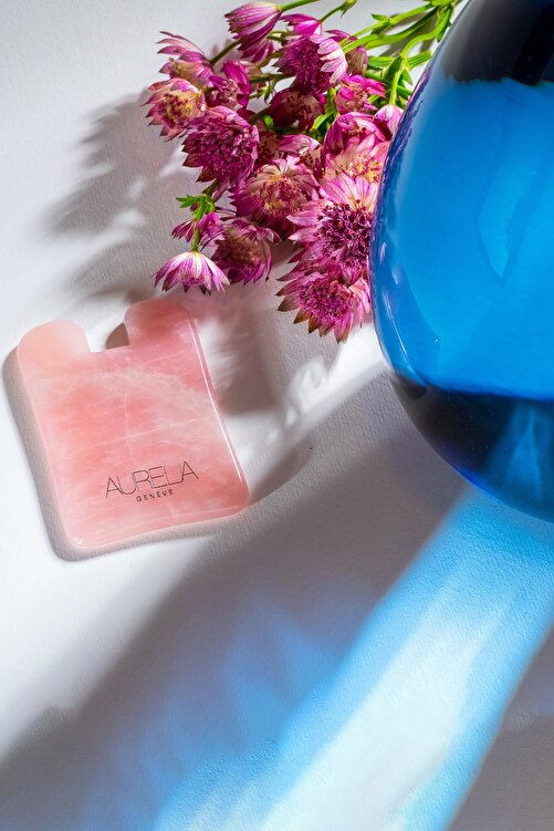 Aurelia Genève Rose Quartz Gua Sha Crystal - Square - Gua Sha Taşı - Pembe Kuvars 2