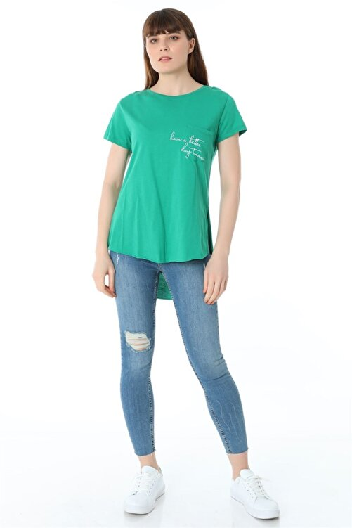ZİNCiRMODA Baskılı T-shirt - Yeşil 2