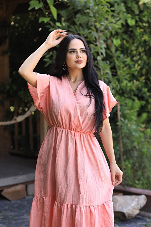 LİLA İSTANBUL Kruvaze Yaka Çizgii Yazlık Elbise 1