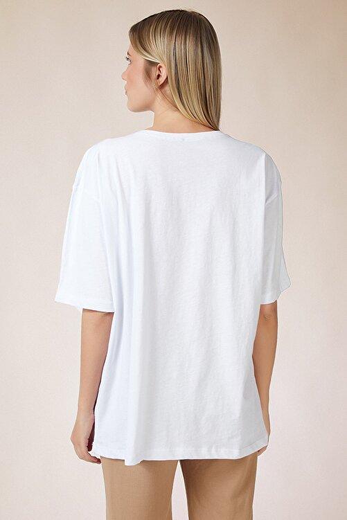 Happiness İst. Kadın Beyaz Baskılı Oversize Uzun Penye T-shirt ZV00105 2