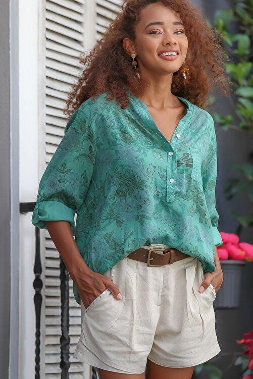 Chiccy Kadın Yeşil Italyan Gül Desenli Patı Ve Cebi Pul Dokuma Uzun Kol Ayar Düğmeli Bluz M10010200bl95057 2