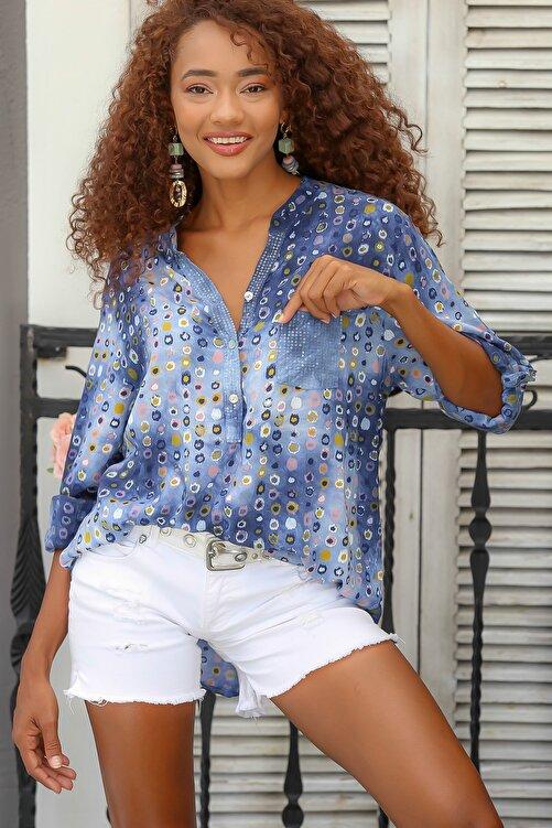Chiccy Kadın Mavi Italyan Puan Desenli Patı Ve Cebi Pul Dokuma Uzun Kol Ayar Düğmeli Bluz M10010200bl95053 2