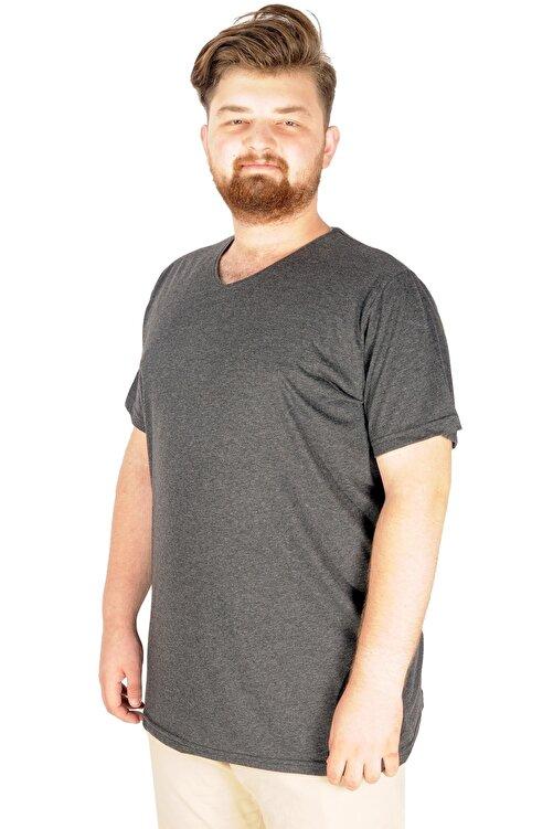 ModeXL Büyük Beden Tshirt V Yaka 20032 Antrasit 1