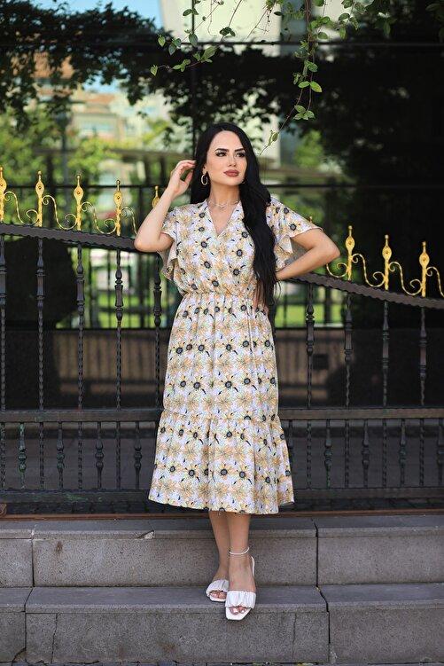LİLA İSTANBUL Kruvaze Yaka Çiçek Desenli Yazlık Elbise 2