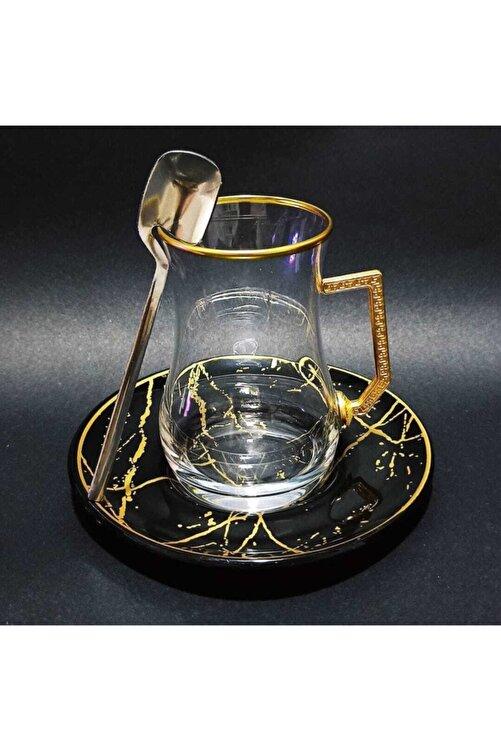 Turkuaz Crystal Dark Collection Pratik Kaşıklı Çay Takımı Seti 18 Parça 2