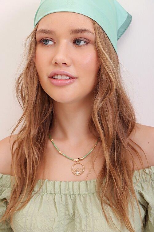 Trend Alaçatı Stili Kadın Yeşil Sıra Taşlı Göz Figürlü Kolye ALC-A2361 1