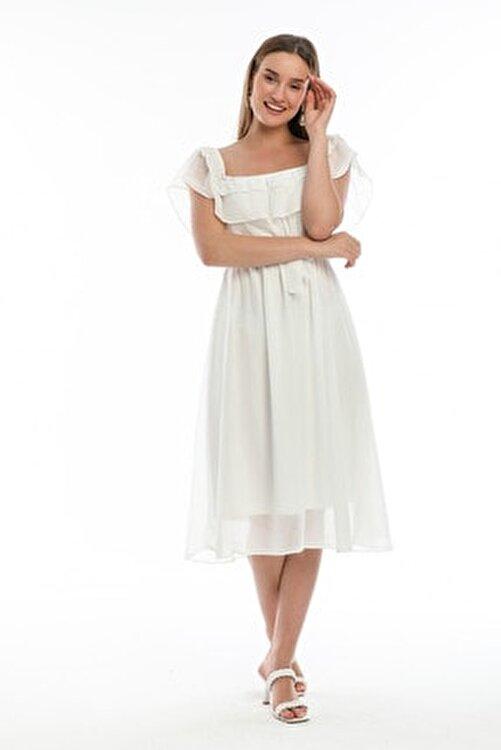 Elbise Delisi Beyaz Madonna Fırfır Yaka Büyük Beden Elbise 2
