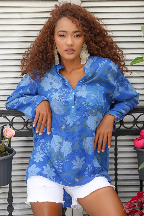 Chiccy Kadın Mavi Italyan Gül Desenli Patı Ve Cebi Pul Dokuma Uzun Kol Ayar Düğmeli Bluz M10010200bl95057 2