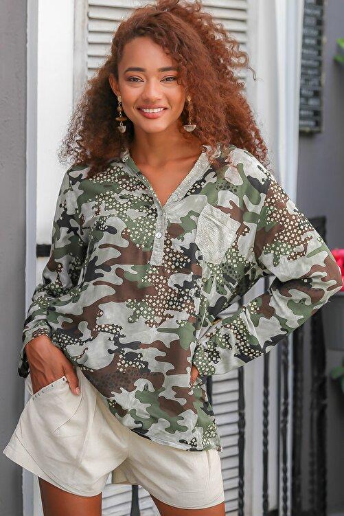 Chiccy Kadın Haki Italyan Kamuflaj Desen Pat Ve Cebi Pul Dokuma Uzun Kol Ayar Düğmeli Bluz M10010200bl95060 1