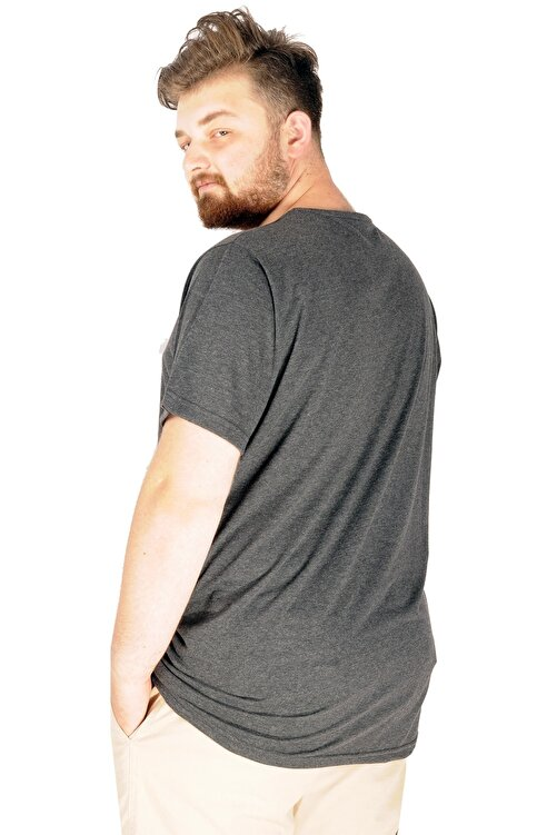 ModeXL Büyük Beden Tshirt V Yaka 20032 Antrasit 2