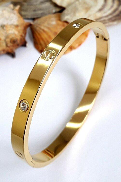 X-Lady Accessories Kadın Altın Renk Çelik Kelepçe Taşlı Bileklik 1