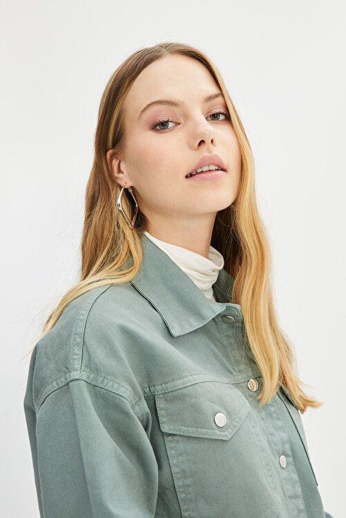 Trendyol Modest Yeşil Gömlek Yaka Ceket TCTSS21CE0398 2