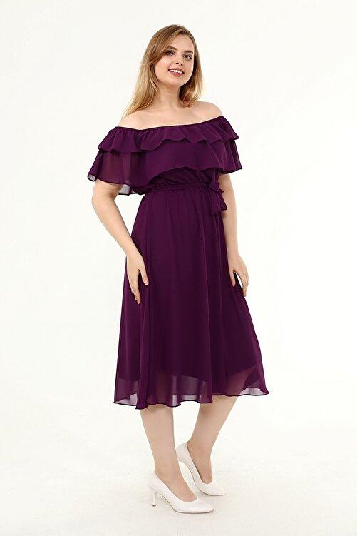 Moday Karmen Yaka Büyük Beden Şifon Elbise 30y-1824 2