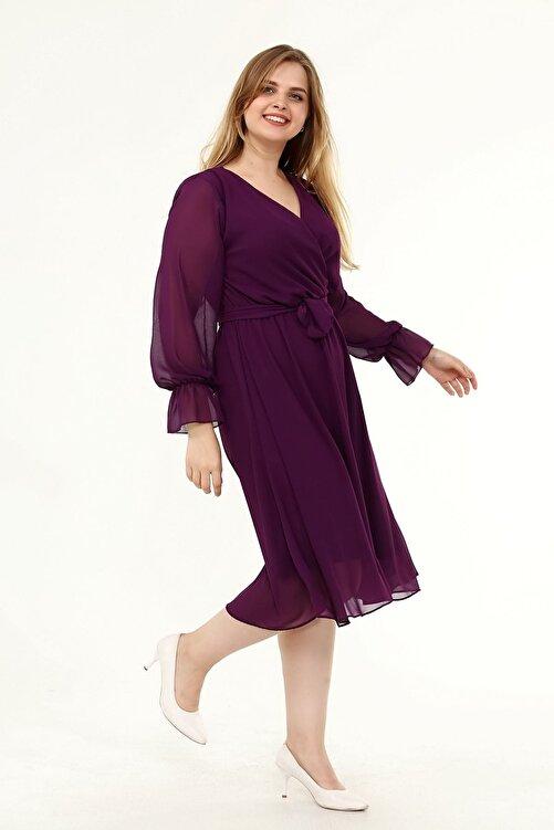 Moday Uzun Kol Büyük Beden Şifon Elbise 10a-1820 2
