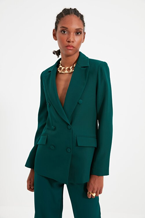TRENDYOLMİLLA Yeşil Düğme Detaylı Blazer Ceket TWOSS21CE0137 1