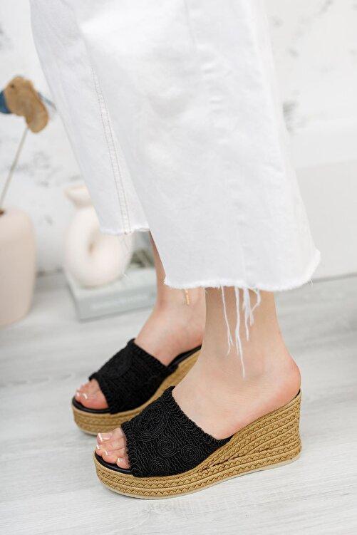 Moda Frato Kadın Düz Hasır Dolgu Taban Terlik 2