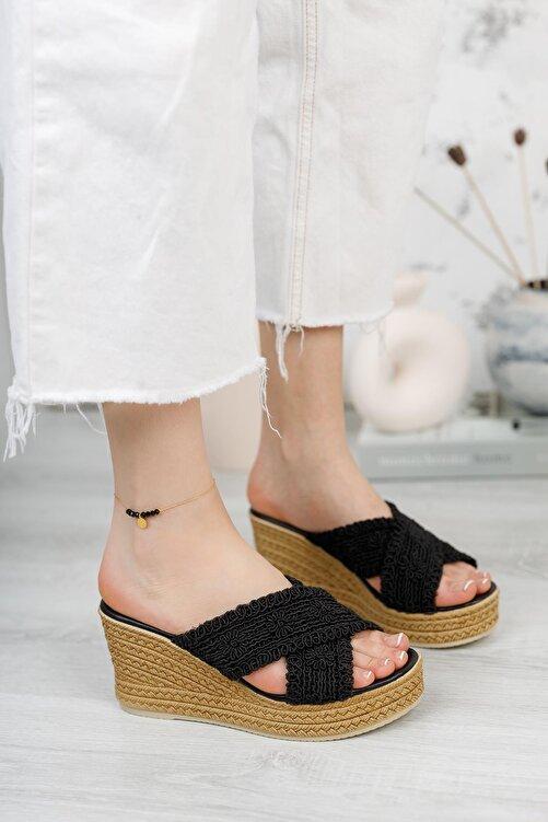 Moda Frato Çapraz Hasır Dolgu Taban Kadın Terlik 2