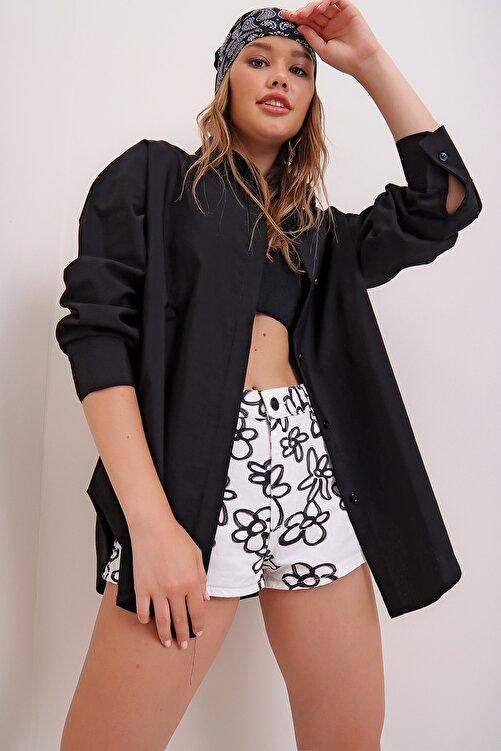 Trend Alaçatı Stili Kadın Siyah Oversize Uzun Dokuma Gömlek ALC-X6828 1