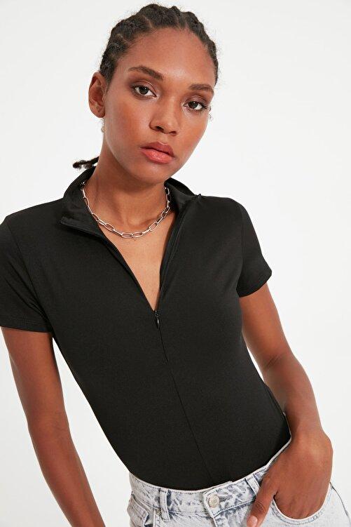 TRENDYOLMİLLA Siyah Fermuarlı Dik Yaka Çıtçıtlı Örme Body TWOAW21BD0009 2