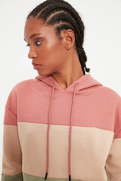 TRENDYOLMİLLA Pembe Renk Bloklu Kapüşonlu Basic Örme İnce Sweatshirt TWOAW20SW0792 2