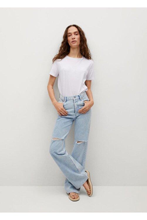 MANGO Woman Kadın Beyaz Gündelik Koton T-shirt 2