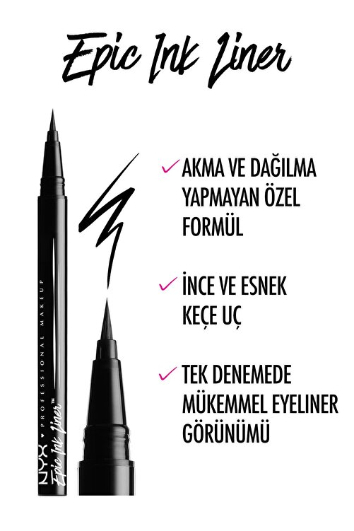 NYX Professional Makeup Siyah Eyeliner - Epic Ink Liner Black 800897085605 2