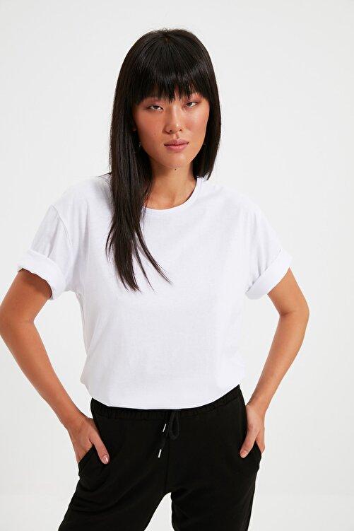 TRENDYOLMİLLA Beyaz %100 Pamuk Bisiklet Yaka Boyfriend Örme T-Shirt TWOSS20TS0134 2