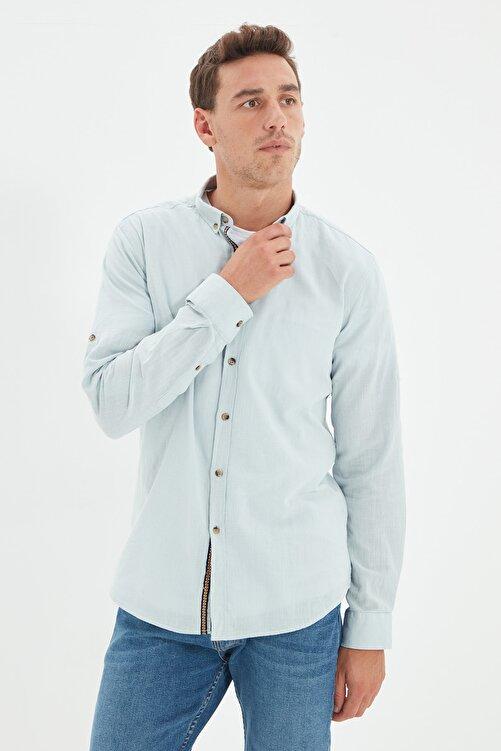 TRENDYOL MAN Mint Erkek Düğmeli Yaka Apoletli Slim Fit Gömlek TMNSS20GO0189 1