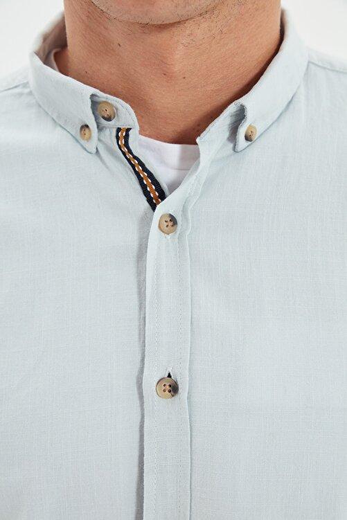 TRENDYOL MAN Mint Erkek Düğmeli Yaka Apoletli Slim Fit Gömlek TMNSS20GO0189 2