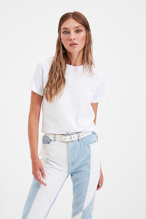 TRENDYOLMİLLA Beyaz %100 Pamuk Bisiklet Yaka Basic Örme T-Shirt TWOSS20TS0133 2