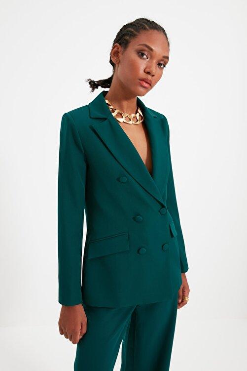 TRENDYOLMİLLA Yeşil Düğme Detaylı Blazer Ceket TWOSS21CE0137 2