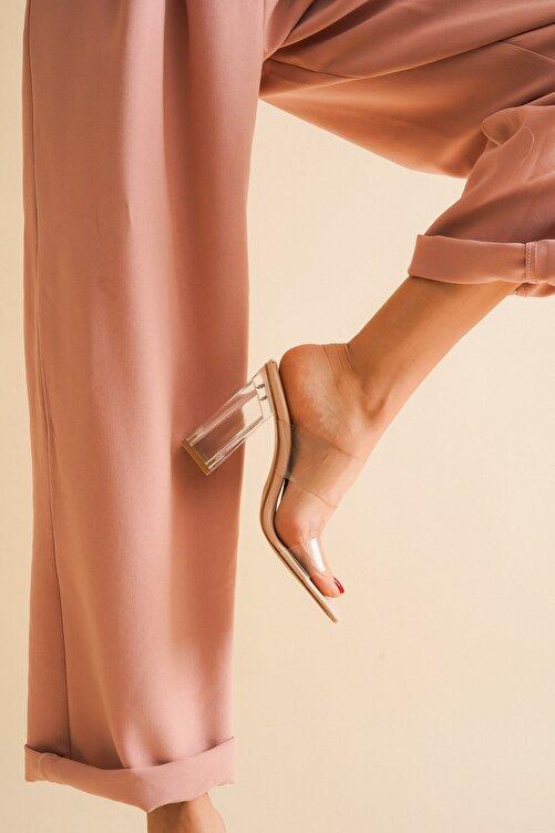 Ayakkabı Ateşi Nude Cilt Şeffaf Kadın Şeffaf Topuklu Ayakkabı 2