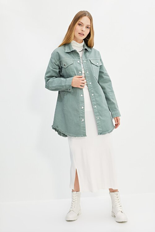 Trendyol Modest Yeşil Gömlek Yaka Ceket TCTSS21CE0398 1